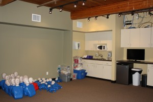First aid, CPR, and AED training room
