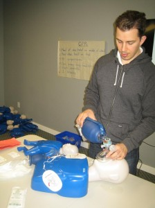Using a bag-valve mask during CPR